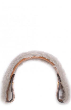 Ручка для сумки с отделкой из овчины Anya Hindmarch. Цвет: серый