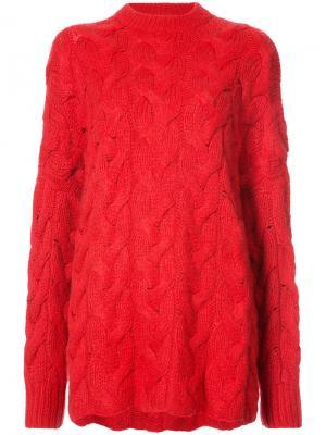 Свободный свитер с вязкой косичками Ryan Roche. Цвет: красный