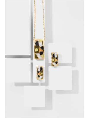 Набор украшений Античный пасьянс: цепочка с кулоном и серьги Nothing but Love. Цвет: золотистый, оранжевый, черный