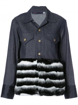Куртка с контрастным подолом Harvey Faircloth. Цвет: синий