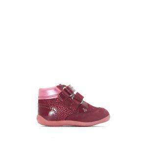 Ботинки кожаные с застежкой на планки-велкро BILIANA KICKERS. Цвет: бордовый