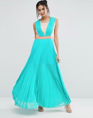 Jovonna Плиссированное платье макси Jovanna Neontown. Цвет: зеленый