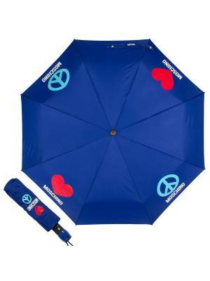 Зонт складной MOSCHINO. Цвет: синий, голубой, красный