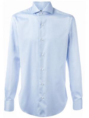 Рубашка с плиссированными манжетами Barba. Цвет: синий