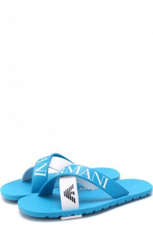 Шлепанцы с логотипом бренда Armani Junior. Цвет: голубой