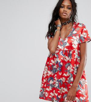 Reclaimed Vintage Свободное платье с короткими рукавами и принтом драконов Vin. Цвет: синий