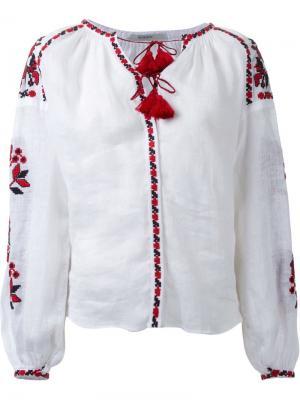 Блузка с цветочной вышивкой Vita Kin. Цвет: белый