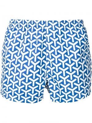 Шорты для плавания со сплошным принтом Y Timo Trunks. Цвет: синий
