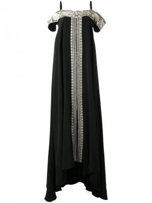 Платье с контрастной вышивкой Vilshenko. Цвет: чёрный