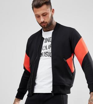 Diesel Красная спортивная куртка с полосками. Цвет: черный