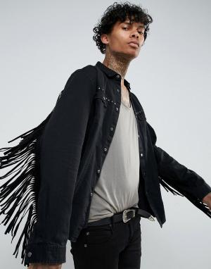 ASOS Джинсовая рубашка навыпуск с заклепками и бахромой FESTIVAL. Цвет: черный