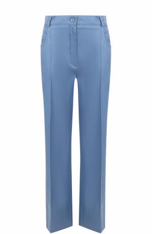 Расклешенные брюки из смеси шерсти и шелка Nina Ricci. Цвет: голубой