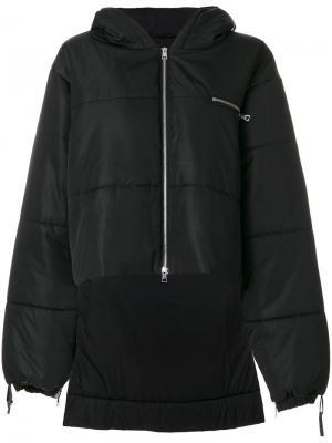 Дутая удлиненная куртка Barbara Bologna. Цвет: чёрный