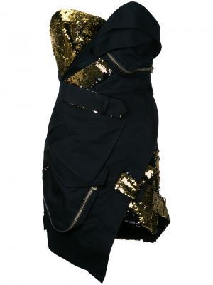 Короткое платье-бюстье с пайетками Alexandre Vauthier. Цвет: чёрный
