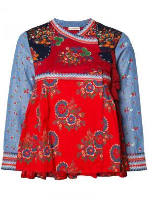 Куртка с запахом цветочным узором Ulla Johnson. Цвет: красный
