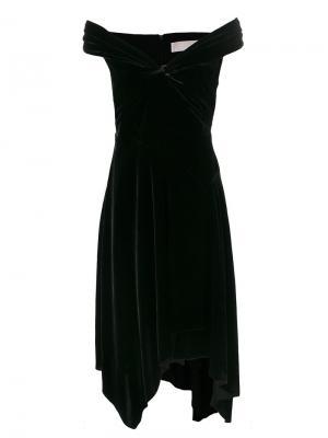 Бархатное платье с открытыми плечами Peter Pilotto. Цвет: чёрный
