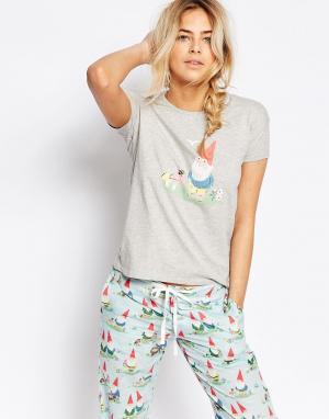 Cath Kidston Пижамная футболка Garden Gnome. Цвет: серый