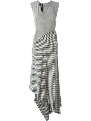 Лоскутное платье в клетку Yang Li. Цвет: чёрный
