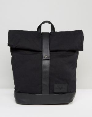 Dead Vintage Черный рюкзак с закатанным верхом. Цвет: черный