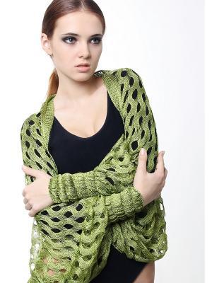 Болеро-накидка вязаное из шелковой нити Шелковый зигзаг Золотая Олива SEANNA. Цвет: зеленый