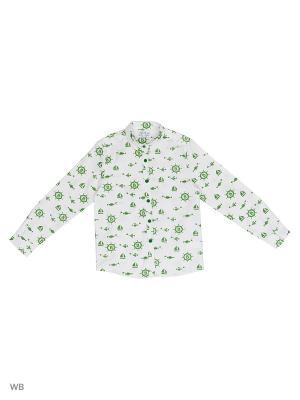 Рубашка  для мальчика Bonito kids. Цвет: белый, зеленый