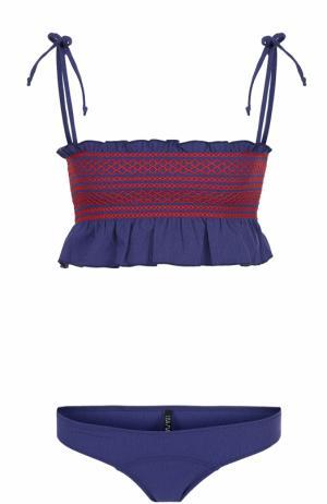 Раздельный купальник с контрастной отделкой и оборками Lisa Marie Fernandez. Цвет: темно-синий