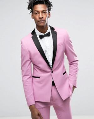 ASOS Розовый супероблегающий пиджак-смокинг с атласными лацканами. Цвет: розовый