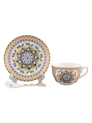 Чайная пара Калейдоскоп Elan Gallery. Цвет: серый, золотистый, синий