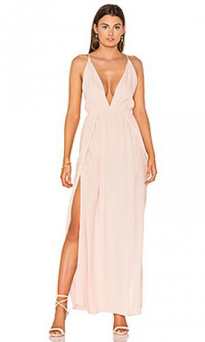 Макси платье с глубоким вырезом BLQ BASIQ. Цвет: розовый