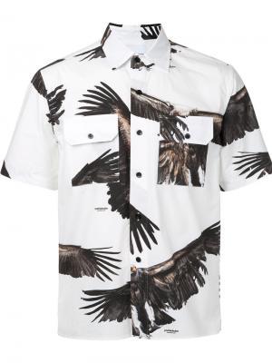 Рубашка с короткими рукавами и принтом орлов Yoshio Kubo. Цвет: белый