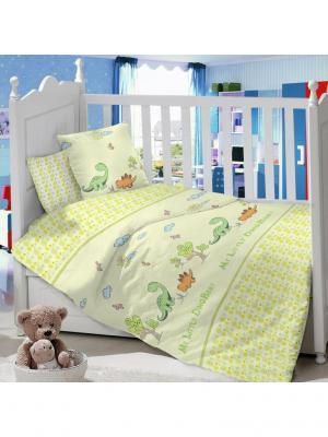 Комплект постельного белья в детскую кроватку из сатина (простыня на резинке) Ивбэби. Цвет: светло-зеленый, светло-желтый