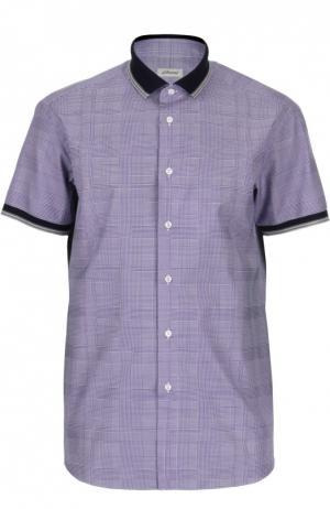Рубашка в клетку с короткими рукавами Brioni. Цвет: лиловый