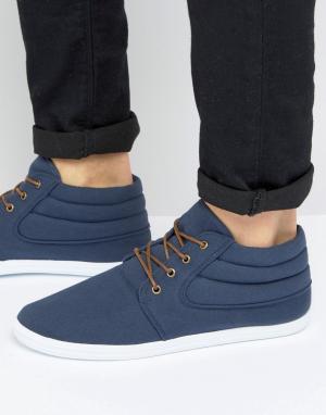 ASOS Темно-синие парусиновые ботинки чукка. Цвет: темно-синий