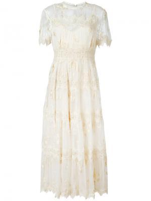 Кружевное платье Zimmermann. Цвет: телесный