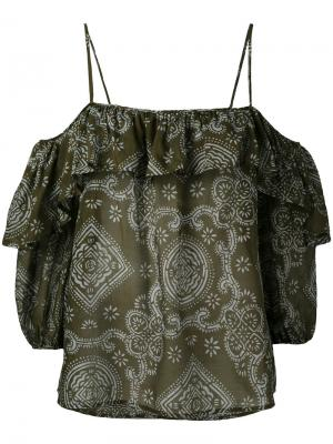 Блузка с открытыми плечами Jucca. Цвет: зелёный