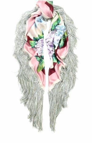 Шелковая шаль с бахромой Dolce & Gabbana. Цвет: розовый