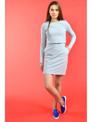 Платье для кормящих мам COZY MA серое, мини MilkyMama