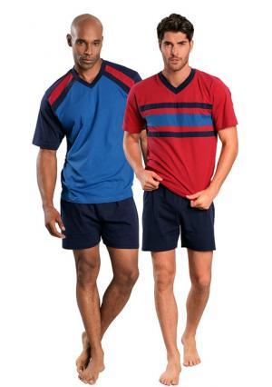 Пижама с шортами, 2 штуки LE JOGGER. Цвет: синий/темно-синий+красный/темно-синий