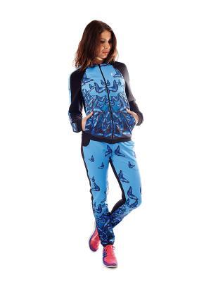 Куртка EMDI. Цвет: голубой, черный