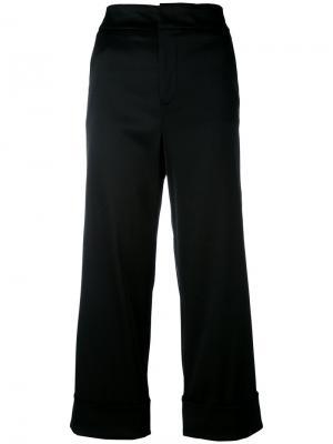 Широкие укороченные брюки Pt01. Цвет: чёрный