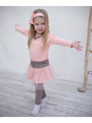 Леггинсы с юбкой коричневые/персик TRENDYCO Kids. Цвет: персиковый, темно-бежевый