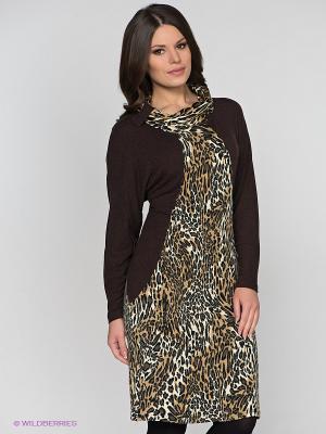 Платье МадаМ Т. Цвет: коричневый, кремовый, темно-бежевый