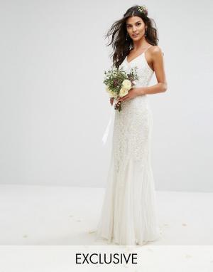 Amelia Rose Платье макси с отделкой Bridal. Цвет: белый