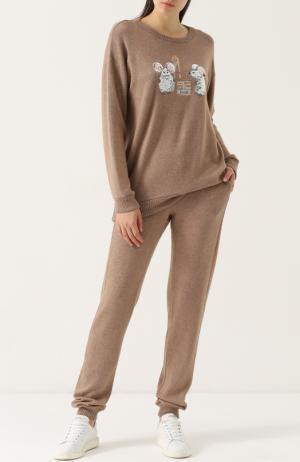 Вязаный костюм с вышивкой пайетками Pietro Brunelli. Цвет: кремовый