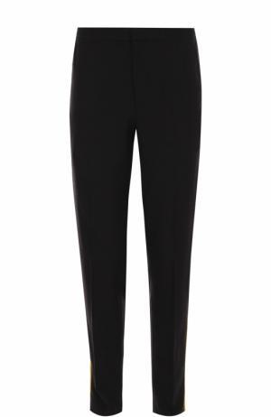 Шерстяные брюки прямого кроя с поясом на резинке и лампасами Alexander McQueen. Цвет: черный