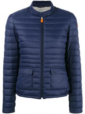 Стеганая куртка с заплаткой логотипом Save The Duck. Цвет: синий