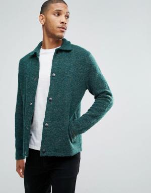 ASOS Зеленая фактурная трикотажная куртка Харрингтон. Цвет: зеленый