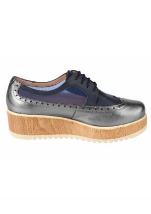 Туфли на шнурках Heine. Цвет: синий/серебристый