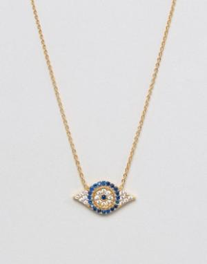 Ottoman Hands Ожерелье с подвеской-глазом Evil Eye. Цвет: золотой