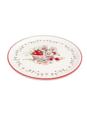 Блюдо для блинов Ромашки Elan Gallery. Цвет: зеленый, красный, белый